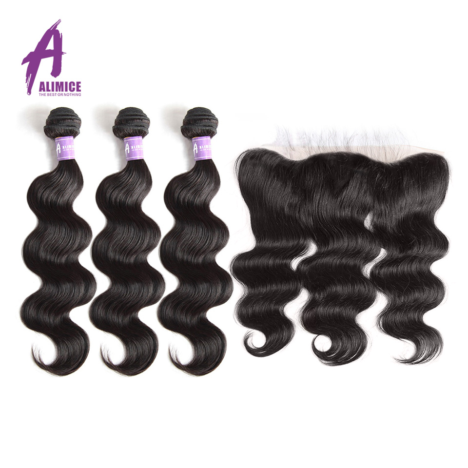 Brazilian Body Wave Human Hair Weave 3 Bundles Hair Weft With Closure Alimice Non Remy Hair Lace Frontal Closure With Bundles