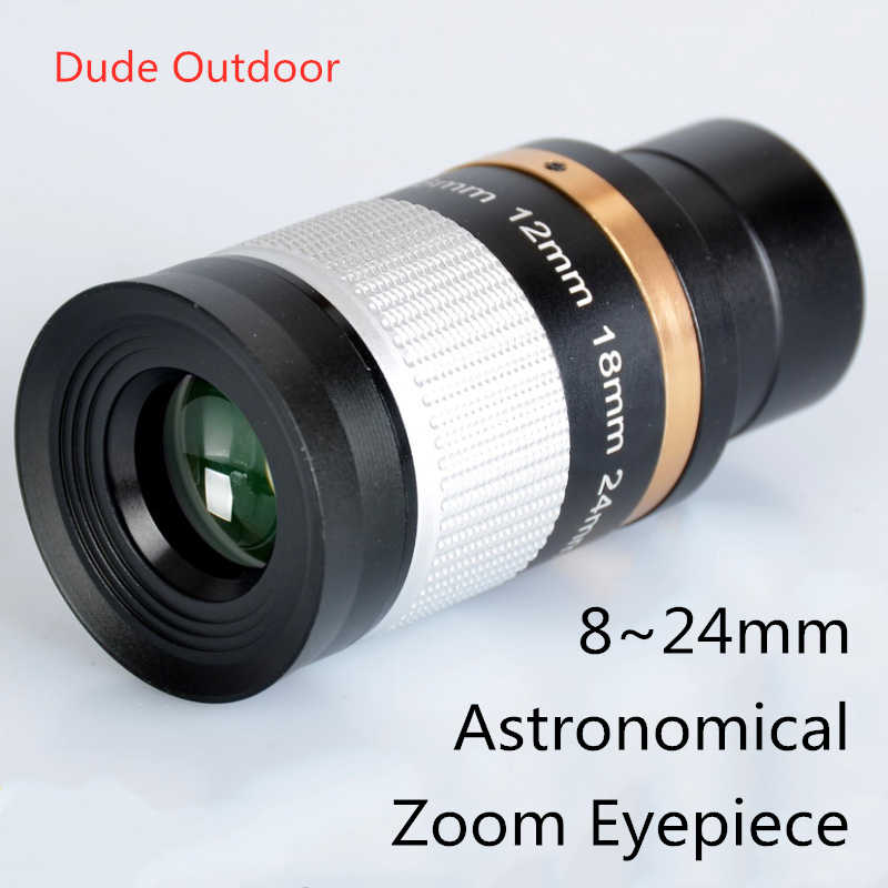 Professional 1.25in Telescope Lens 8-24mm Zoom Eyepiece Optic Lens Glass for Star watching Astronomical Telescope Accessories