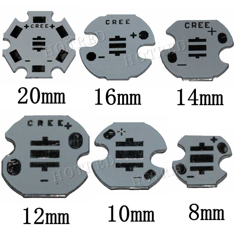 Cree XPE XP-E /XTE XT-E/XPG XP-G 3535LED PCB Aluminum board 20mm 16mm 14mm 12mm 8mm For DIY LED Light 100PCS/LOT