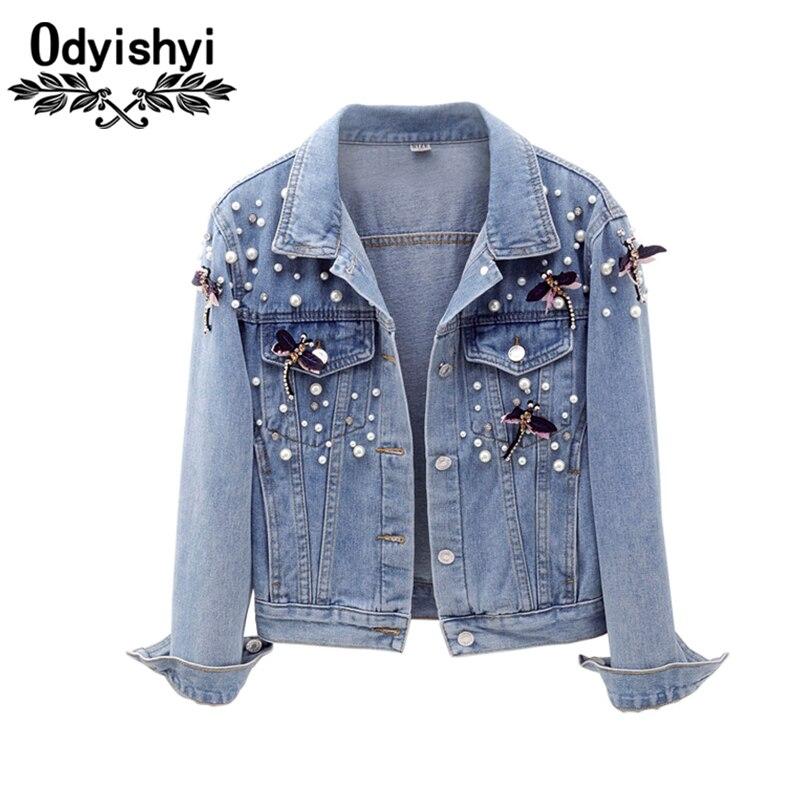 Autumn Short Denim Jackets 2019 New Womens Fashion Beaded Removable Decorative Three Quarter Denim Coat Female