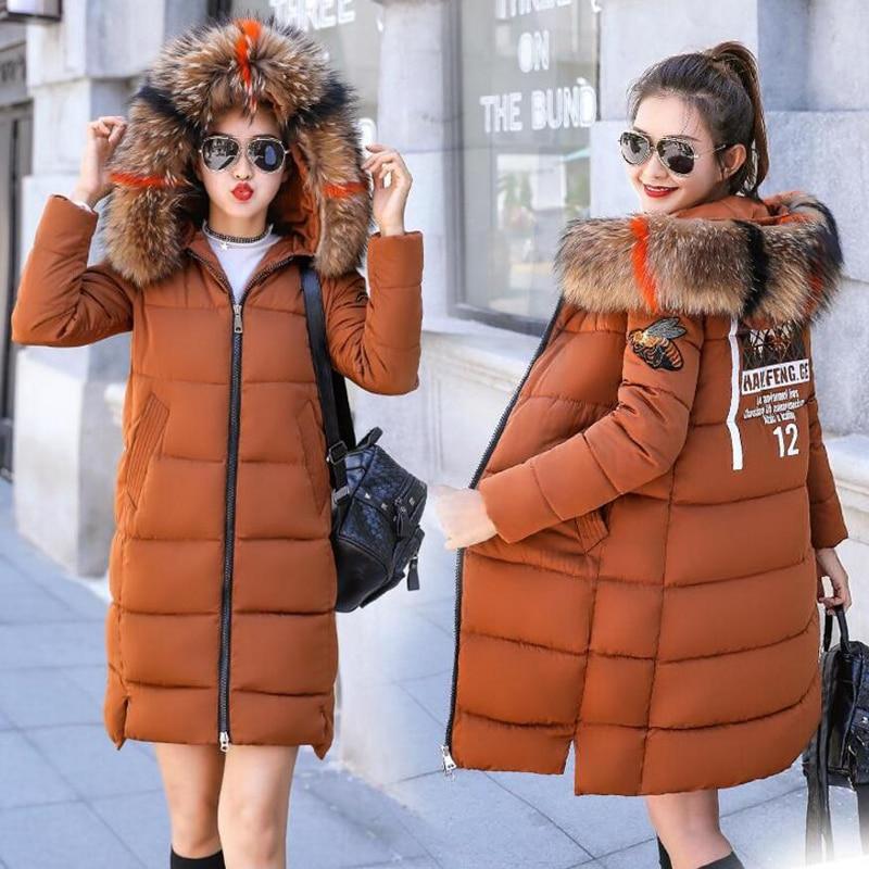 Fourrure Coton 2018 Beige rouge Capuchon noir Hiver caramel Col Long Taille Plus Outwear D'hiver Nouveaux Chaud Parkas Veste De Femmes jaune Épaisseur La Grand À Colour Manteau qqrw8fgE