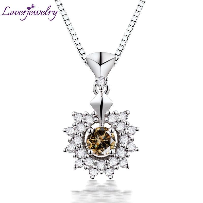 Loverbijoux dame pendentif collier Unique naturel 4mm rond café diamant femmes pendentifs solide 750 18K or blanc sans chaîne
