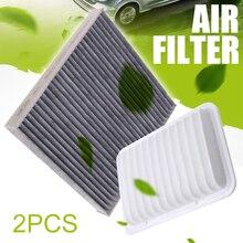 2pcs Engine Cabin Air Filter Set 87139-0D030 87139-YZZ08 For Toyota Yaris Matrix Corolla Scion xD 2009-2017