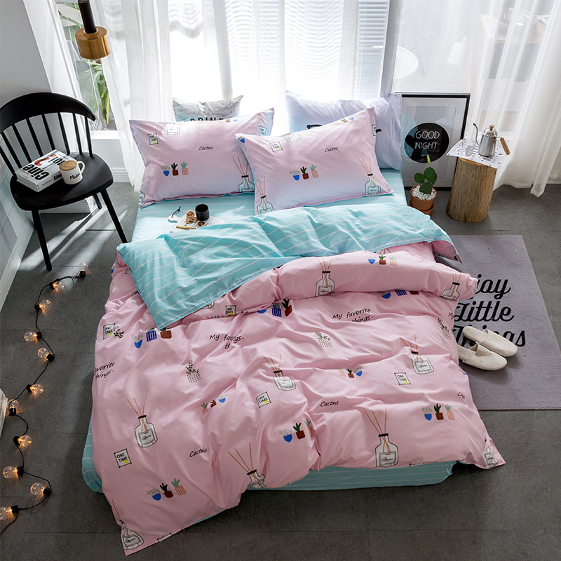 #a Aloe cotton comfortable simple and skin-friendly soft apply bed linen pillowcase bedding four sets Home Textile C528-3