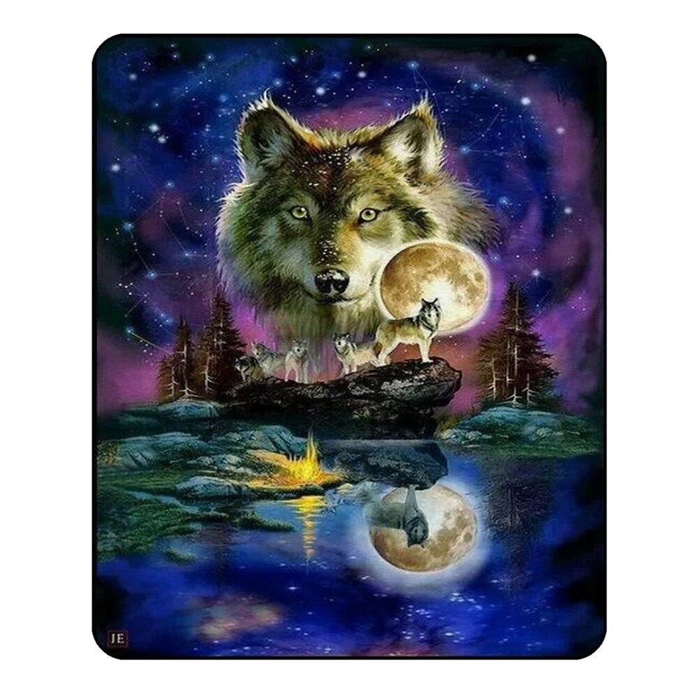 Loup galaxie couverture pour enfants adultes étoile en peluche jeter couverture canapé Animal mince couette