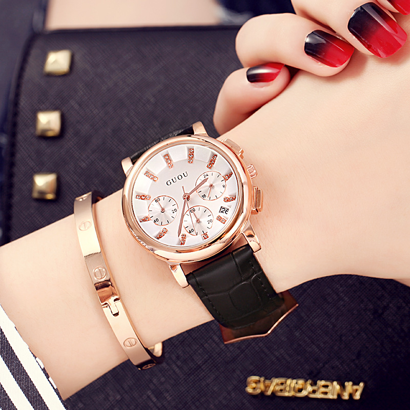 Fashion Women Casual Six-pin Calendar Watch Brand GUOU Luxury Genuine Leather Ladies Quartz Watch Waterproof relogio feminino fashion women calendar rose gold quartz watch luxury brand guou six pin retro big dial female multifunction waterproof clock