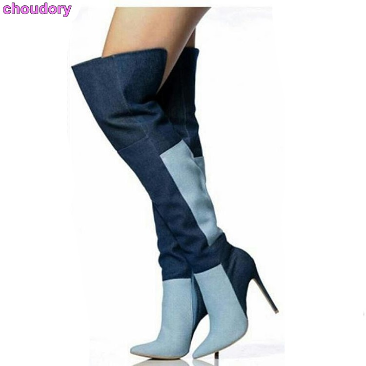 Women Fashionable Blue Biege Denim Patchwork Boots Over The Knee Elegant Stiletto Heels Color Matched Boots Pointed Toe Boots колесные диски replay vv150 6 5x16 5x112 d57 1 et46 gmf