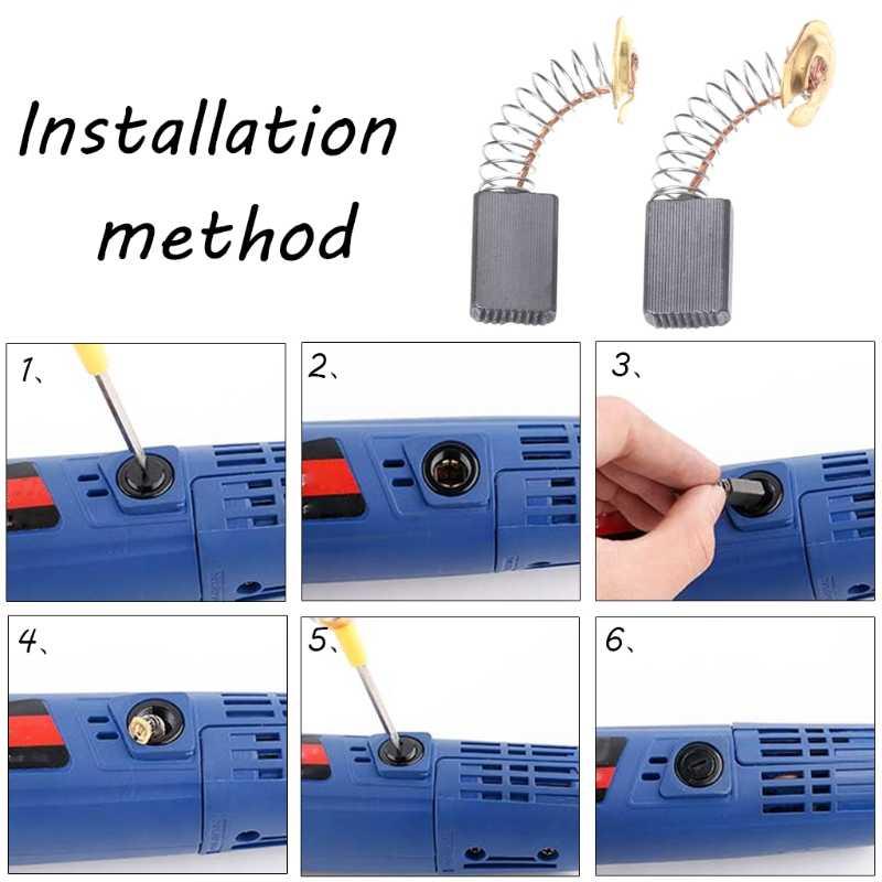 Ootdty 2Pcs Bor Listrik Carbon Brush Spare Part untuk DeWalt Bosch Makita Electrictool Dorp Pengiriman