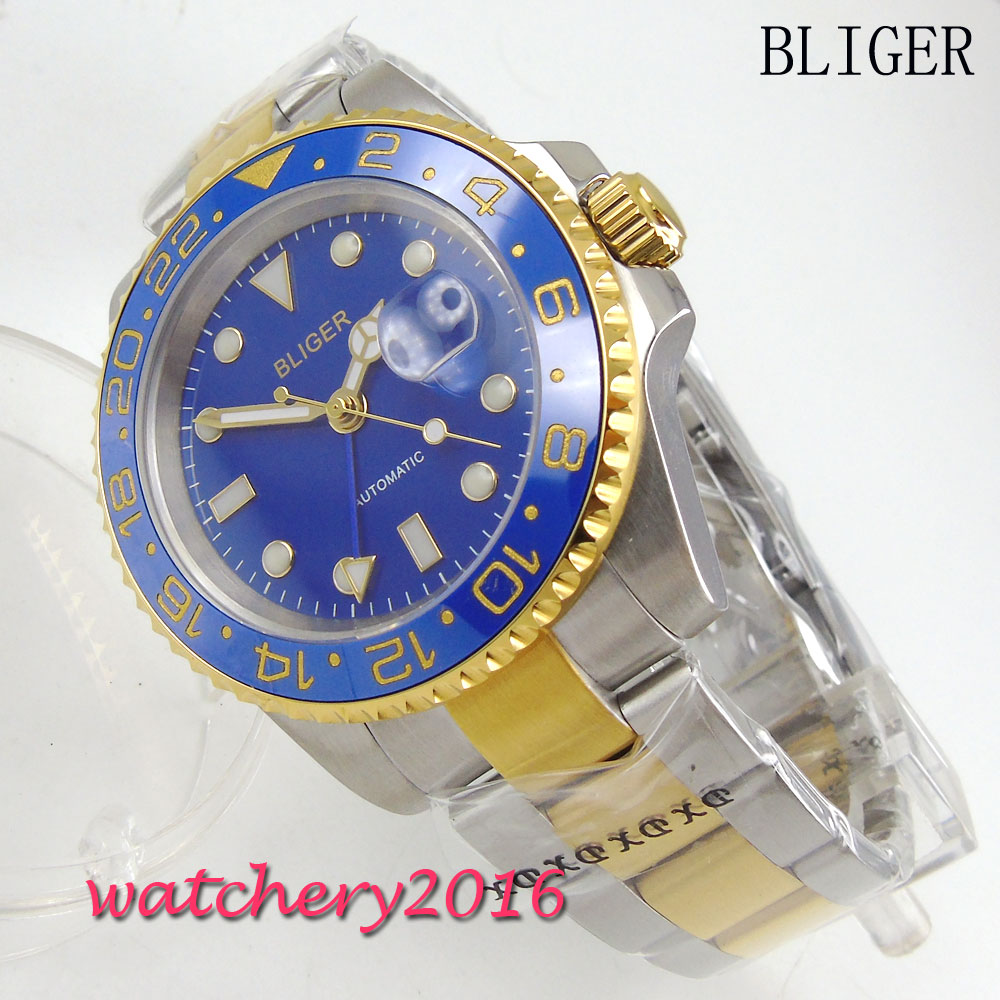 Newest 40mm Bliger blue Dial ceramic bezel GMT Luminous Hands Sapphire Glass Automatic Movement Mens Mechanical WristwatchesNewest 40mm Bliger blue Dial ceramic bezel GMT Luminous Hands Sapphire Glass Automatic Movement Mens Mechanical Wristwatches