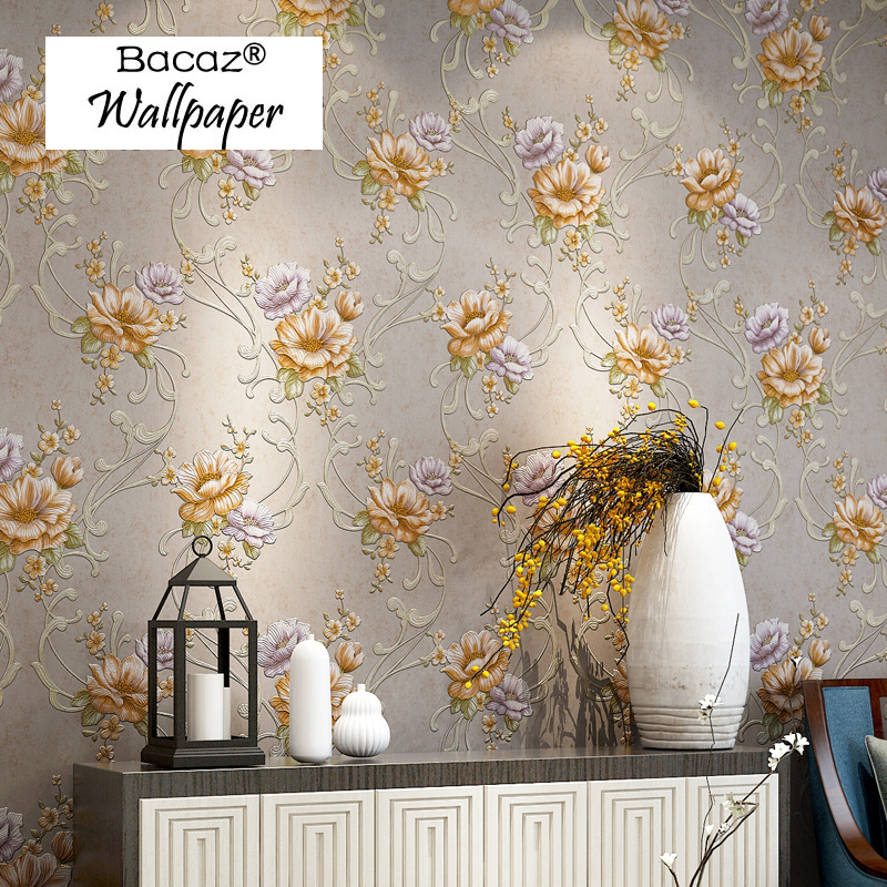Bacaz embossed Abstract 3D Rustic flower wall paper Rolls for tv sofa background 3d wallpaper for walls 3d wallcoverings american rustic modern flower wallpaper for walls 3 d embossed bedroom living room sofa background floral wall paper rolls