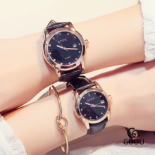 New Famous Brand GUOU Luxury Watch Men Women Fashion Couple Watches 24 hours Clock Lovers Gift Leather Quartz WristWatch relogio