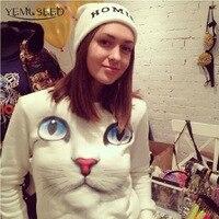 Women New Winter 3D Beads Cat Sweatshirts Harajuku Venta 2015 Para Mujer Sudaderas Hoodies Pullovers Coat