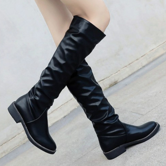 4a45c4ee6294 2018 Womens Flat Block Heel knee High Tall Long Boots Black Sewing Flat Boots  Shoes