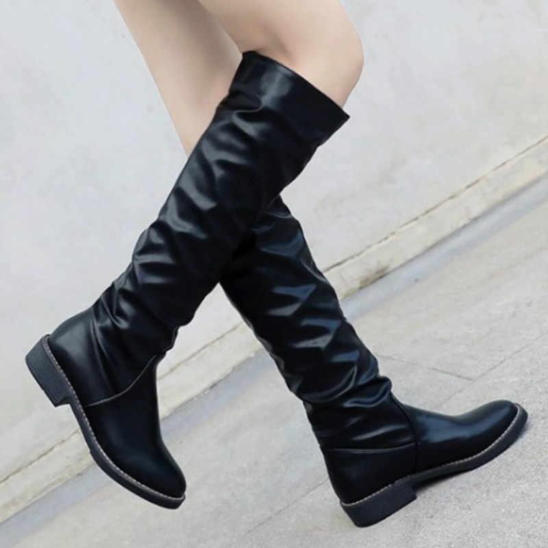 fce4862bc 2018 zapatos planos de tacón de bloque de la rodilla alto botas largas de  coser negro