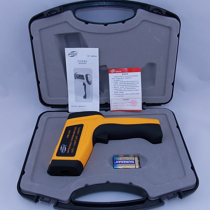 (With box)GM1350 Non-Contact 50:1 LCD display IR Infrared thermometer Gun Thermometer -18~1350C (0~2462F) 0.1~1.00 adjustable digital infrared ir thermometer laser temperature gun non contact 50 1 with lcd backlight gm1350 18 1350c 50 1