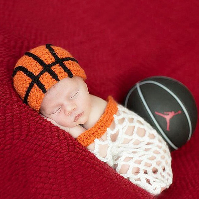 e8a365a1b US $13.64 22% OFF|Newborn Little Baby Boy Basketball Hat Photography Props  Outfit Neonatal Baby Birthday Picture Photo shoot Props Crochet Clothes-in  ...