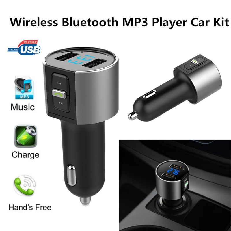 Car MP3 Music Player Car Kit MP3 Music Player Wireless Bluetooth FM Transmitter Radio With 2 USB Port Car Styling @#228