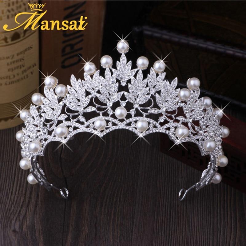 Lindo Casamento Jóias Diadema Brilhante Coroa De Noiva Tiara de Pérolas Simulado Grande Rainha Tiaras Strass Cabelo Crystal jóias HG176