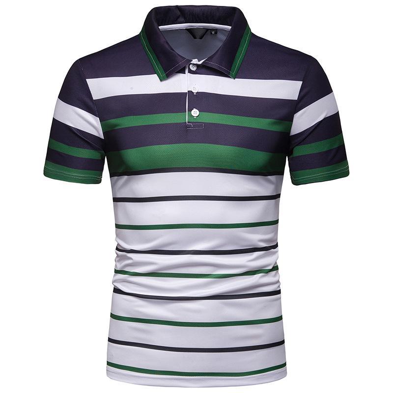 Striped   Polo   Shirt Men Slim Lapel Short sleeve Casual Men's Clothing Summer Tops Tees Men   Polo   Shirt Beach Style