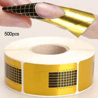 New 100 - 500Pcs/Roll Golden Nail Forms Nail Art Tip Acrylic Curve UV Nails Gel Extension Guide Manicure Stying Sticker Tools