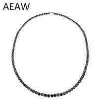 AEAW платиновым покрытием серебристый, черный Муассанит Цепочки и ожерелья для Для женщин 28CTW черный синтетический бриллиант серебро