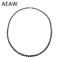AEAW Platinum Plated Silver Black Moissanite Necklace for Women 28CTW Black Moissanite Diamond Sterling Silver