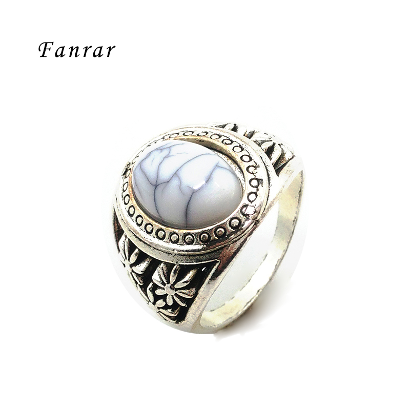 fanrar fashion jewelry exotic crack dot oval stone rings vintage look antique silver plated cocktail men - Exotic Wedding Rings