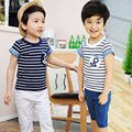 2016 Hot selling Sz90~130 kids child stripes with anchor tops tees children t-shirts for boys summer short sleeve t shirts