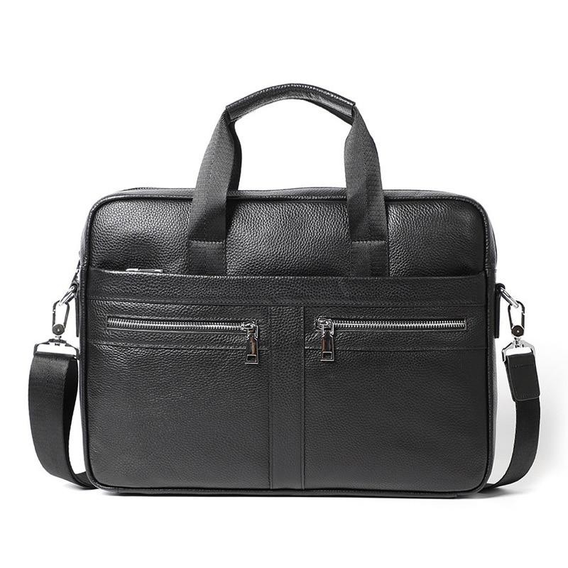 New Briefcase Men's Genuine Leather Handbags Casual Man Bag Cowhide Leather Men Shoulder Bag Messenger Bag Business Laptop Bags