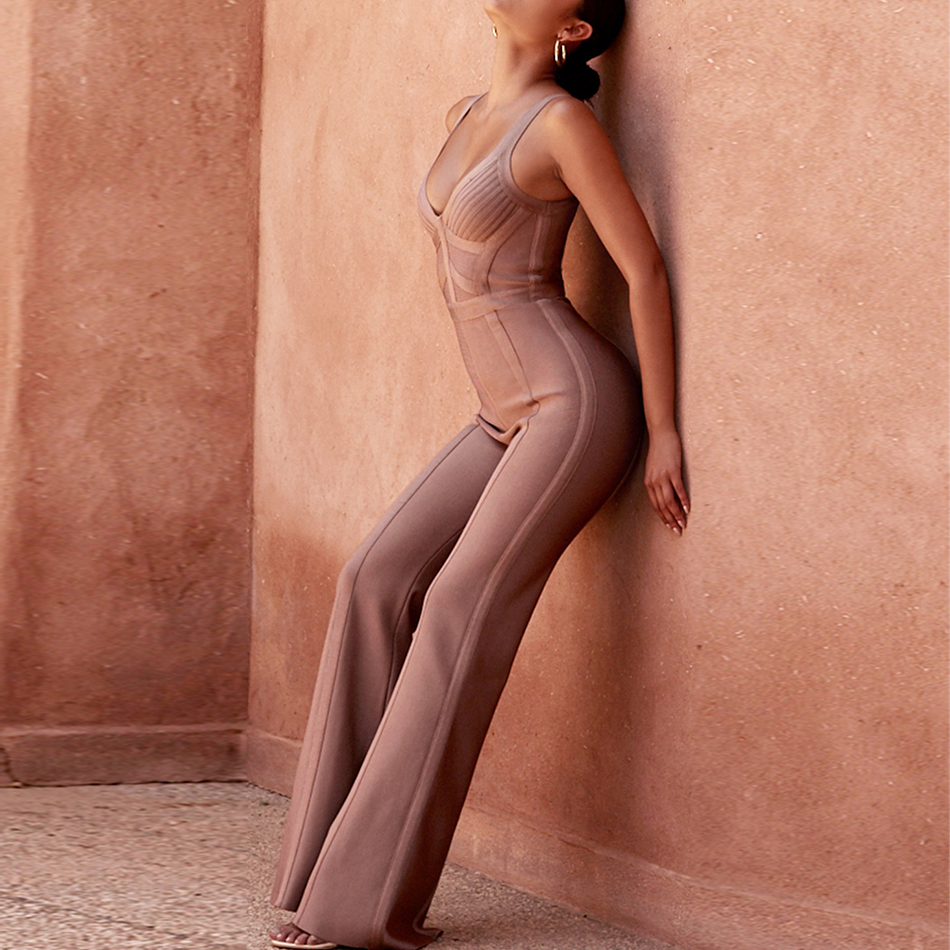 Seamyla 2019 New Bandage Jumpsuits Women Sexy Sleeveless Boot Cut Rompers Bodycon Overalls Summer Club Party Long Bodysuits