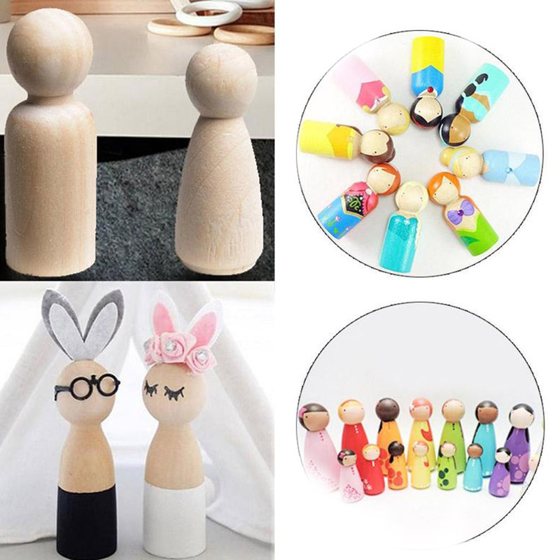 Us 0 59 40 Off 35mm 43mm 55mm 65mm Diy Wood Art Crafts Unfinished Family Wood People Crafts For Paint Stain Wooden Peg Dolls Toys Home Decor In Wood
