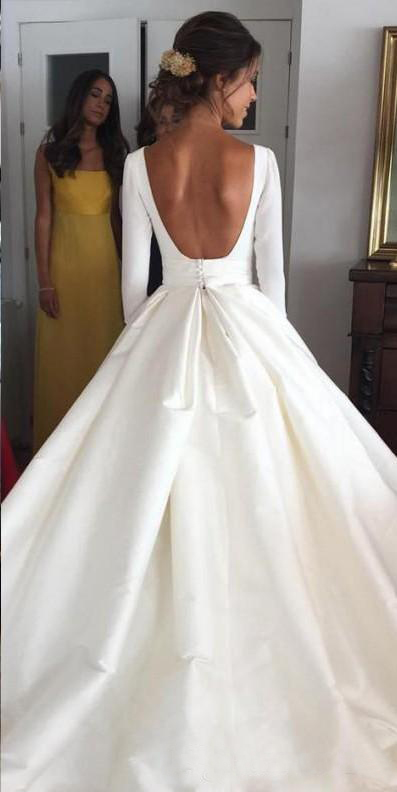 Backless Wedding Dresses.Jieruize White Simple Backless Wedding Dresses 2019 Ball Gown 3 4 Sleeves Elegant Bridal Dresses Open Back Cheap Wedding Gowns