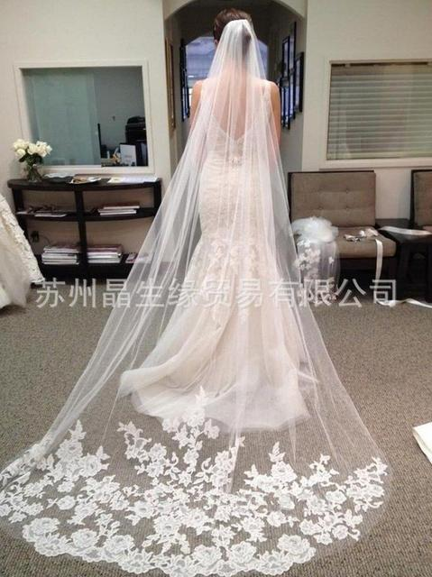 Vintage Style 3m Veil Wedding Applique Edge Long Two Layer Bridal Bridal Veil With Comb  Acessorios Para Cabelo Trailing CK200