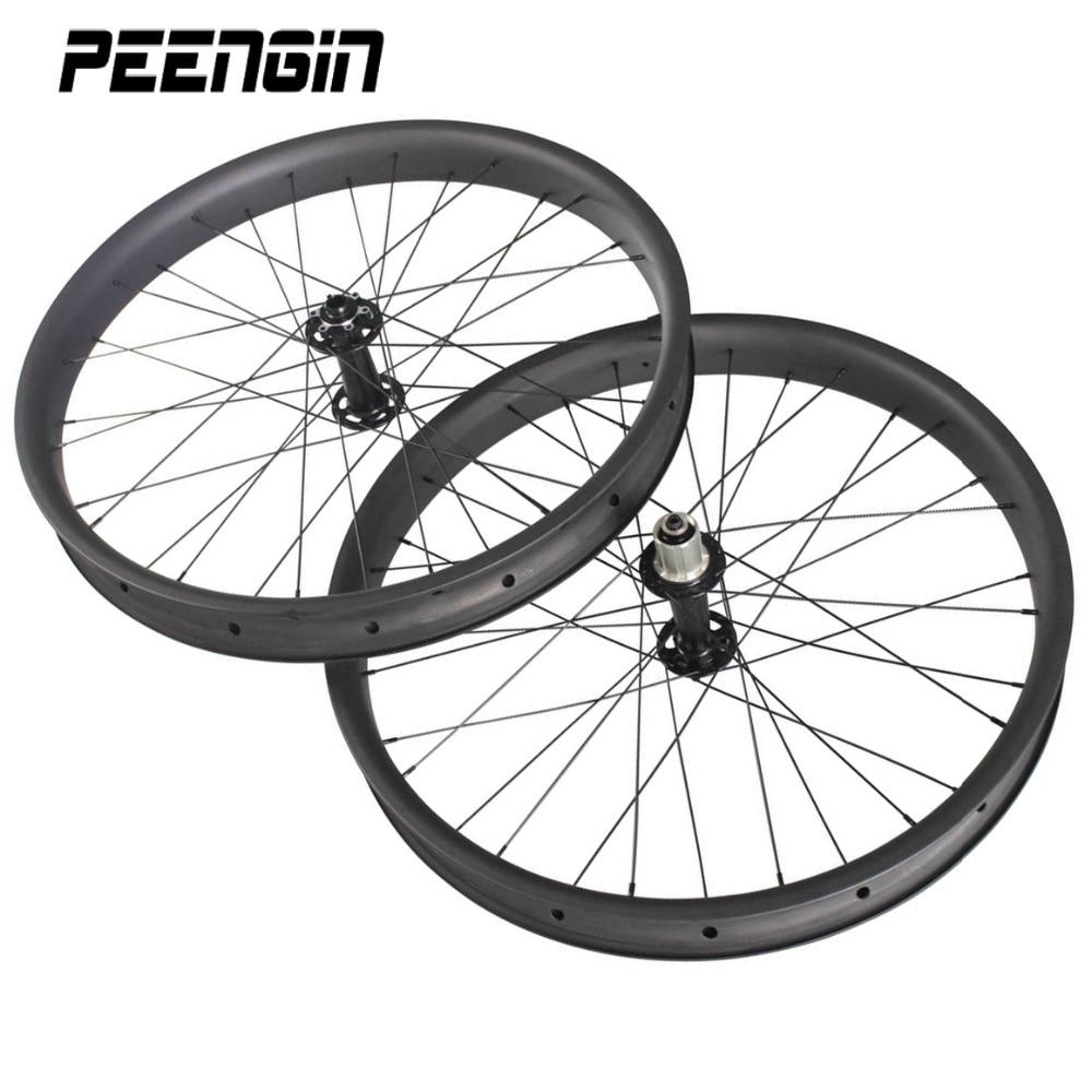 Плавно и быстро езды колеса комплект Ширина углерода жира велосипед 26 дюймов диски 65 мм Ширина 25 мм Глубина Hookless clincher Бескамерная Совместим