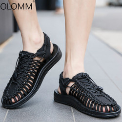 Da Praia do verão Homens Sapatos Ao Ar Livre Tamanho Grande Dos Homens Casuais Tecelagem Sandálias Romanas Sandálias Zapatos De Hombre Mens Verão