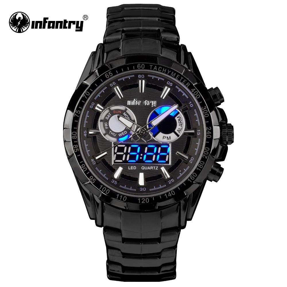 INFANTRY Mens Watch Black Full Steel Reloj Digital Sports ...