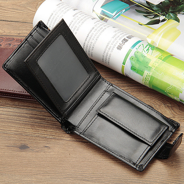 2019 New Patchwork Leather Men Wallets Short Male Purse With Coin Pocket Card Holder Brand Trifold Wallet Men Clutch Money Bag 5