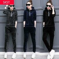 SKST Winter Sport Suit Women Warm Velvet Hooded Leisure Sportswear Sets Spring Sporting Suit