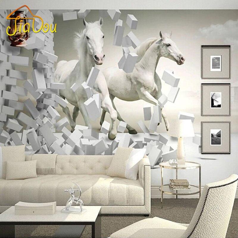mejoras para el hogar d murales de pared papel tapiz caballo blanco saln sof tv