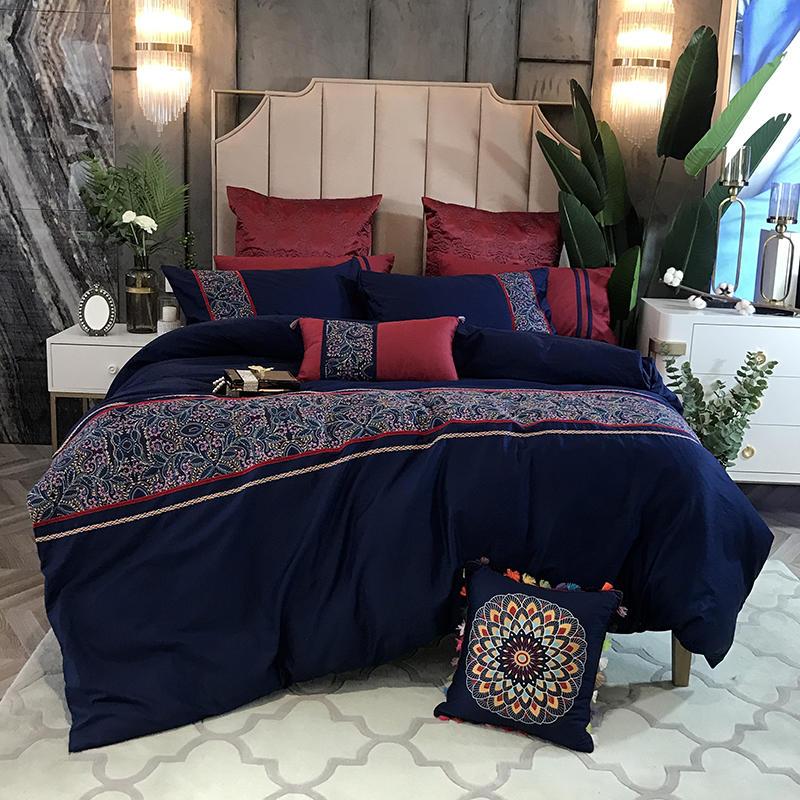 Juego de cama de algodón egipcio tamaño Rey reina juego de cama de lujo blanco azul Hotel juego de sábanas planas ajustadas parrure de lit ropa de cama-in Juegos de ropa de cama from Hogar y Mascotas on AliExpress - 11.11_Double 11_Singles' Day 1