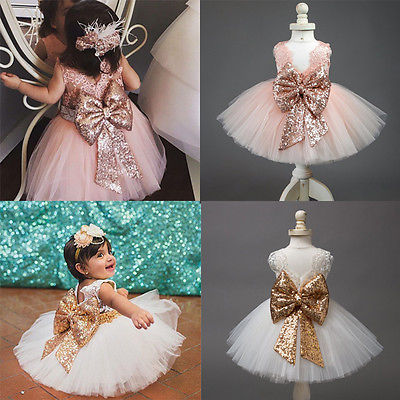 Kids Baby Girl Sequins Boknot Dress Party Dresses Christmas Backless Sundress