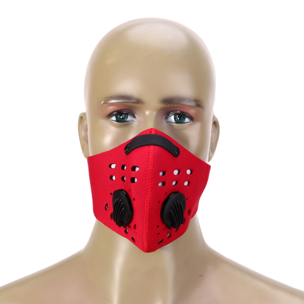 PM2.5 Filter Two Exhale Valves Ski Cycling Half Face Mask Cover Windproof Anti-Pollution Sports Mask Dustproof Running MTB Bike  4
