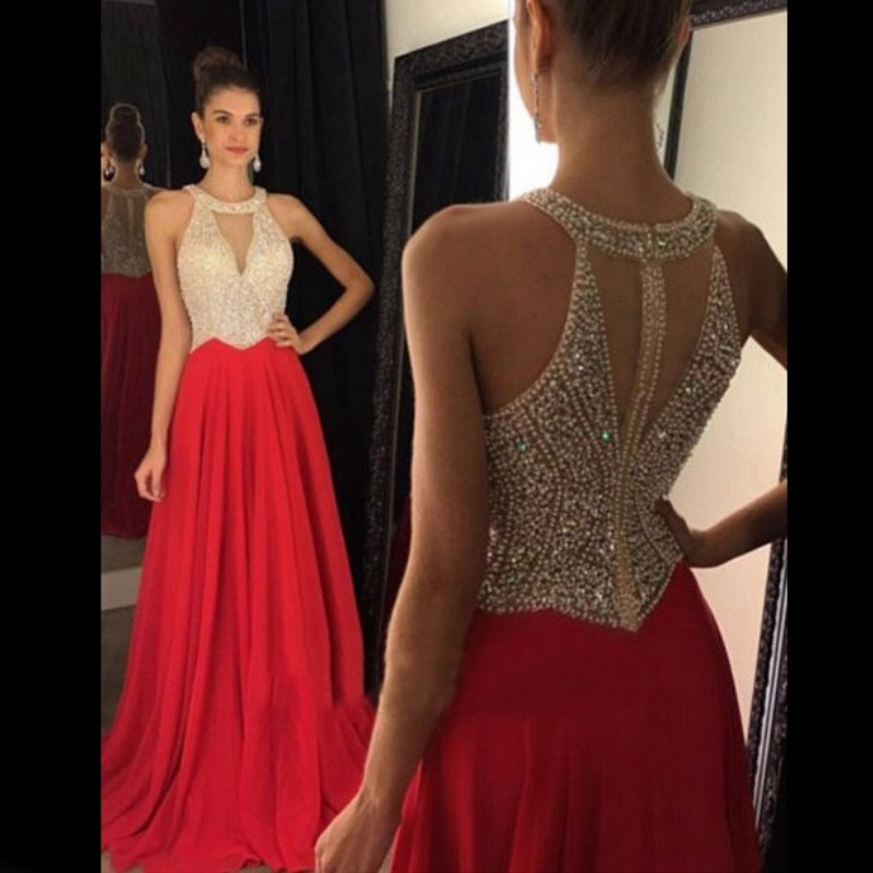 Elegant Red Chiffon Sexy Sleeveless Long Evening Dresses 2019 Prom Party Gowns Custom Made