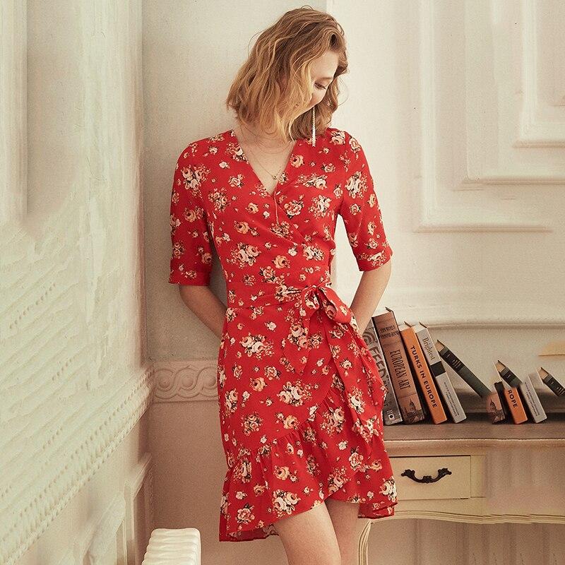 100% Silk Vintage Floral Wrap Dress Red Green Deep V Neck Short Sleeve Summer Slim Ladies Ruffle Mini Dresses With Belt