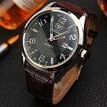 YAZOLE мужские часы Топ бренд класса люкс Бизнес Мода изысканные кварцевые часы для мужчин из натуральной кожи водонепроницаемые часы с кален...
