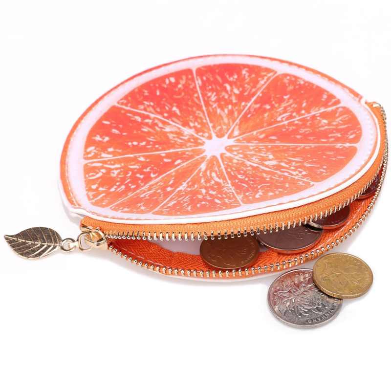 Round Zipper Coin Purse Pocket Woman Wallet Orange Print Girls Purses Mini Bags Soft PU Leather Lady Moneybag Wallets for Gifts
