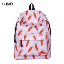 Ou Mo brand waterproof Appliques carrot laptop backpack computer bag anti theft school Bag teenagers man Backpack Women