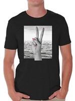 Pamuk Moda T ShirtO-Boyun Kısa Kollu Moda 2018 Erkek erkek barış Işareti Önünde El Okyanus T Shirt Tops Tees