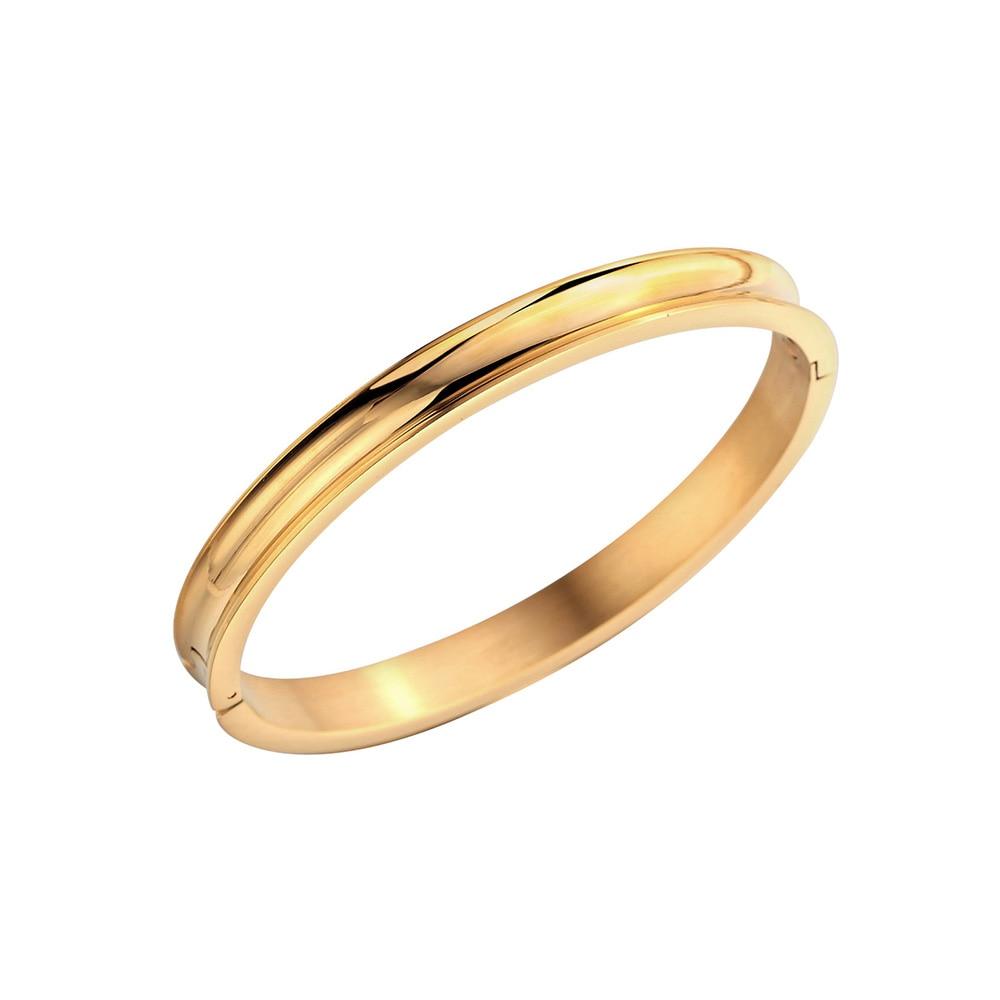 Нержавеющаясталь розовое золото Покрытие паз Браслет-манжета Для женщин простой классический волосы галстук браслет ювелирных изделий О...