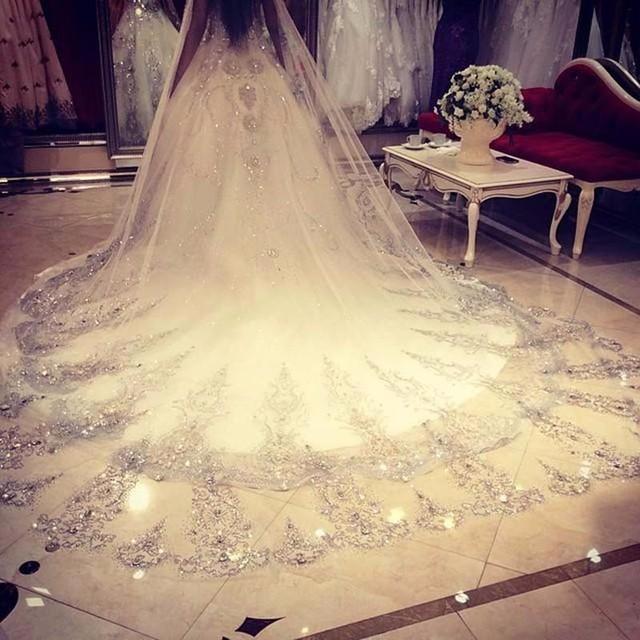 Luxury Crystal Wedding Veils Lace Edge One Layer 3M Bridal Veils Dubai Style Veu de Noiva Longo Bridal Veils ASAMJ06